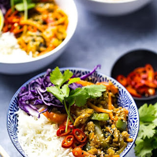 Thai Basil Chicken Bowls with Coconut Rice.