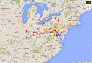 Photo: K8GP / Rover - FN10CA QSO map - ARRL June VHF 2014 - Brn=50 Red=144 Org=222 Yel=432 Grn=902 Blu=1.2G Pur=2.3G Gry=3.4G Wht=5.7G Gld=10G