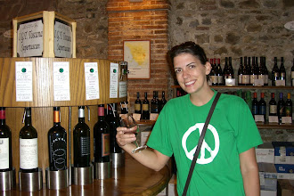 Photo: Teresa enjoying the wine tasting bar/store