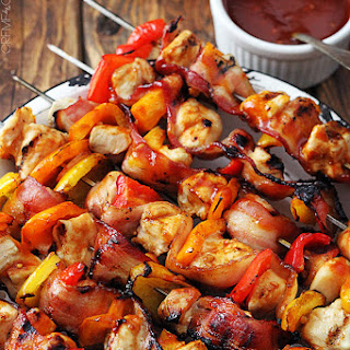Grilled Honey BBQ Bacon Chicken Kabobs.