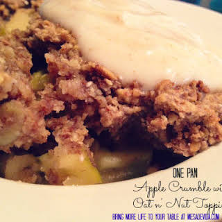 One-pan healthy recipe for Apple Crumble with Oat and Nut Topping.