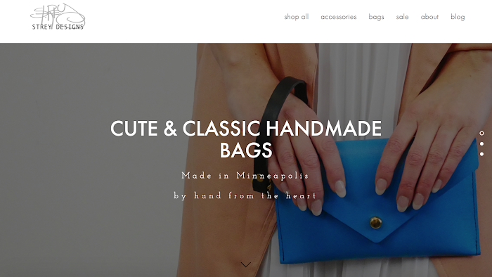 Home page screenshot of ecommerce store Strey Designs.