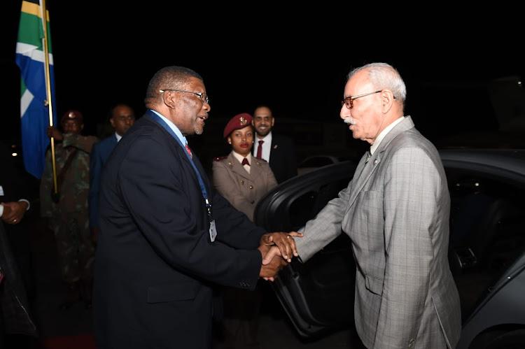 Sahrawi Arab Democratic Republic President Bir Lehlu arrives at Lanseria International Airport.