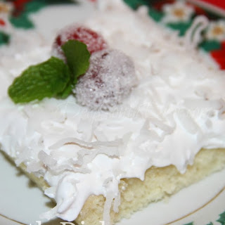 Homemade Coconut Sheet Cake with Divinity Icing