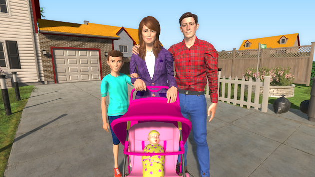 Virtual Mother Happy Family New Baby Twins