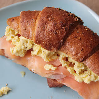 Salmon And Scrambled Eggs Sandwich.