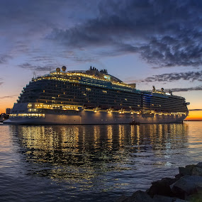 The Regal Princess by Klaus Müller - Transportation Boats ( water, reflection, cruiseship, ship, boats, evening,  )