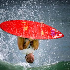 Ellen Flips by Lawayne Kimbro - Sports & Fitness Surfing ( water, sand, ©lawayne kimbro photography, surfing, simboard, ©kimbrophoto, skim usa, ocean, ©kimbro photography, beach, surf, competition, skim,  )