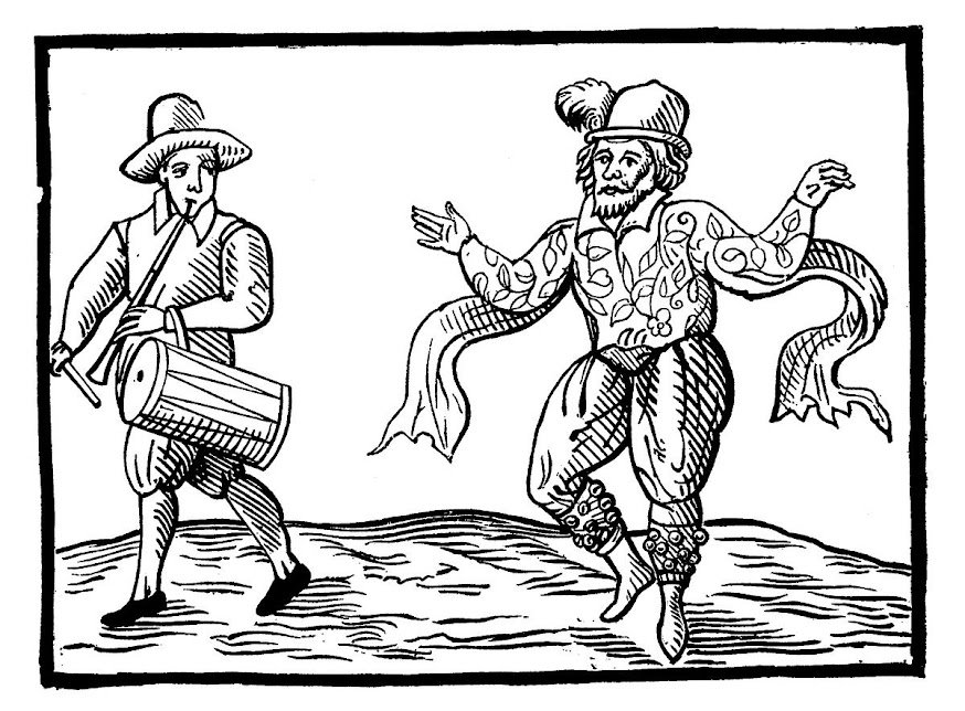 Will Kemp underway from London to Norwich in 1600, with Thomas Slye on pipe and tabor, but without an organ grinder, because the technology wasn't there.