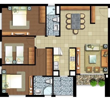 3 phòng ngủ 97 m²