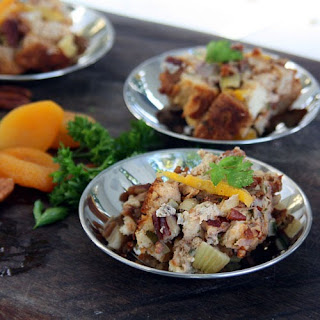 Bread Stuffing with Sausage, Pecans and Dried Apricots -.