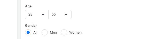 Facebook targeting based on gender
