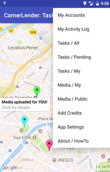 CamerLender: mobile camera crowd lending service- screenshot