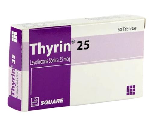 Levotiroxina Thyrin 25mcg 60 Tabletas Square Pharmaceuticals