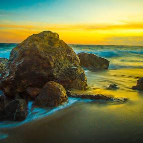 Malibu Sunset by Scott Turnmeyer - Landscapes Waterscapes ( sunset, malibu, ocean, rocks )