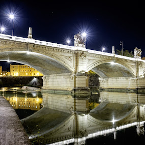 Ponte Vittorio Emanuele II by Theodoros Theodorou - Buildings & Architecture Bridges & Suspended Structures ( reflection, ponte, rome, fujifilm, x-t1, bridge, tiber, italy, river, nightscape )