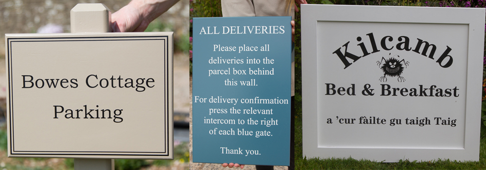 Painted wooden signs are a popular choice for the variety of colours and styles available, perfect for holiday cottages.