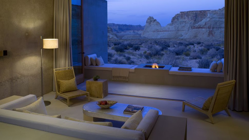 Photo: The Amangiri in Utah is the perfect location to stargaze with your special someone. The Amangiri Suite offers a private courtyard and a pool with a large lounge bed, for you to sun during the day and gaze during the night. See more of the hotel here: