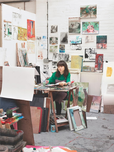 Drawing Year student in her studio at SPACE