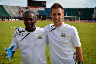 Photo: Goalkeeping coaches Tamba Moses and Andrew Sparkes [Leone Stars Training Camp, in advance of Equatorial Guinea game, Sept 2013 (Pic: Darren McKinstry)]