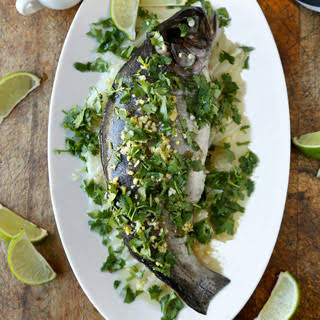 Steamed Fish with Ginger Chili Lime Sauce.