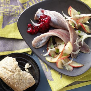 Pickled Herring on Apple and Onion