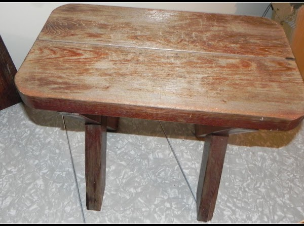 This is a very old stool that I brought home that they would of...