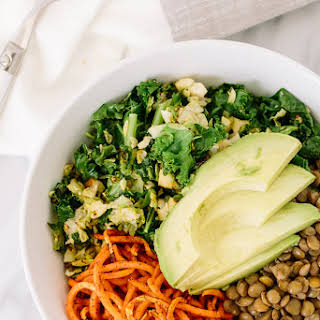 Brussels Sprouts, Kale, and Lentil Sweet Potato Noodle Bowl.