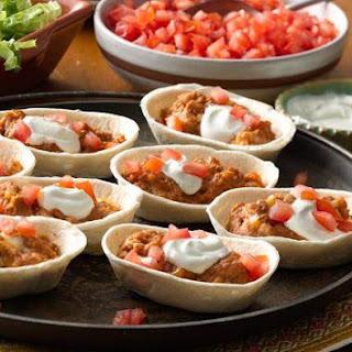 Mini Cheesy Refried Beans Boats.