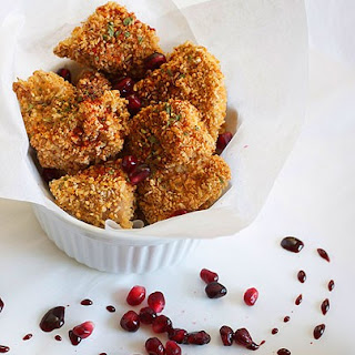 Coconut Oat Crusted Chicken Nuggets & Two Pomegranate Sauces.