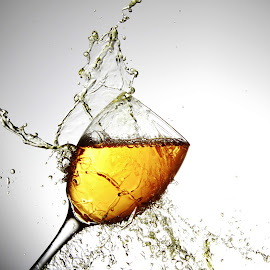 Wine glass anr water by Peter Salmon - Artistic Objects Glass ( water, splash, pour, glass, wet )
