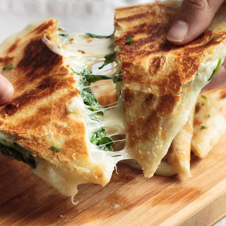 Cheesy Spinach Quesadillas.