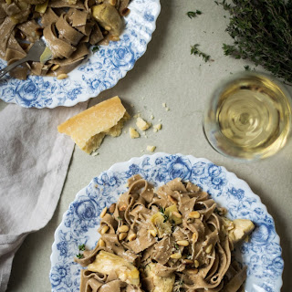 Artichoke Tagliatelle with Creamy Garlic White Wine Sauce.