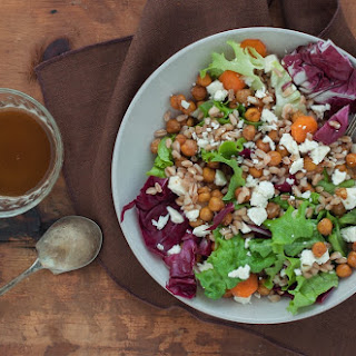 Warm Farro Salad with Chickpeas, Feta and Spicy Dressing.