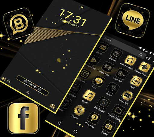 Gold Black Launcher Theme 2.1 5