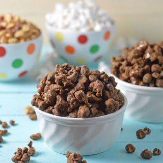 Healthy Muddy Buddies with Popcorn and Nuts.