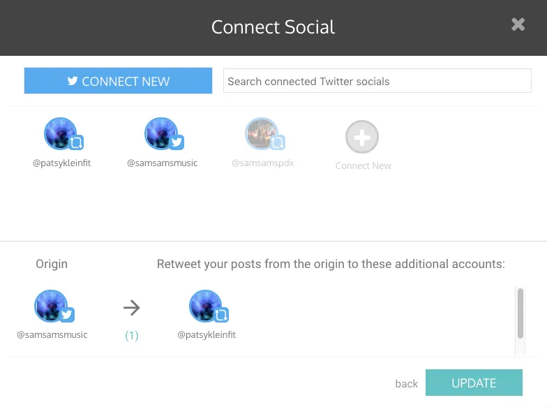select twitter account to tweet - auto retweet tools - TweetJumbo.com- twitter automation bot tool