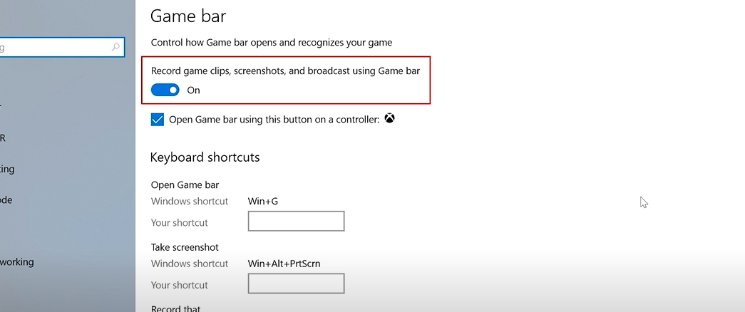 """Go to Settings, click on """"Gaming"""" and then on """"Xbox Game Bar""""."""