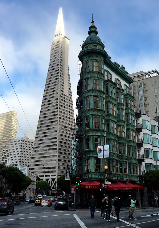 The Sentinel Building with the Transamerica Pyramid in the background.