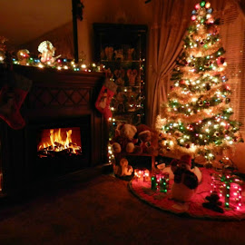 Christmas Eve by Karen Carter Goforth - Public Holidays Christmas ( tree, christmas, fireplace, holiday,  )