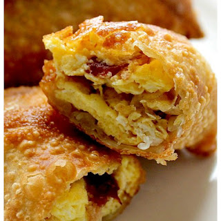 Breakfast Egg Rolls with Meat, Egg and Cheese.