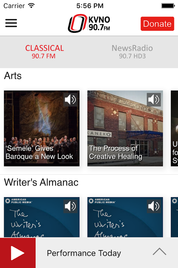 KVNO Public Radio App- screenshot