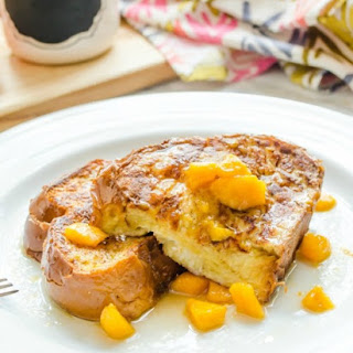 Stuffed French Toast with Peach Bourbon Maple Syrup