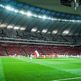 National Stadium in Warsaw, Poland by Paweł Mielko - Sports & Fitness Soccer/Association football ( polska, national, sports, sport, warsaw, poland, flag, football, stadium, sport photography, polonia, polish, soccer )