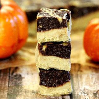 Vegan Chocolate Marbled Swirl Pumpkin Cheesecake Squares (Vegan, Gluten-Free, Dairy-Free, Egg-Free, No-Bake, Paleo-Friendly, No-Refined Sugar)