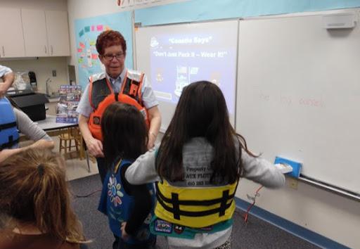 L. Skvarla demonstrating proper life jacket
