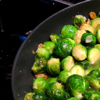 Braised Brussels Sprouts with Bacon and Golden Raisins.