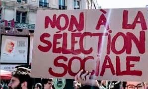 Plakat: «Non à séléction sociale».