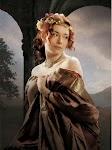 rijk geklede vrouw houdt haar jurk zedig voor haar vast