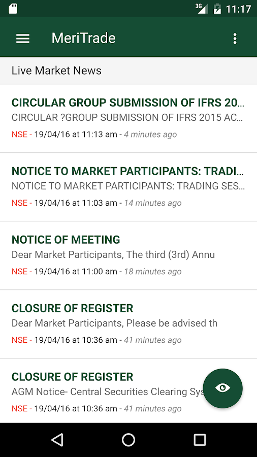 MeriTrade App- screenshot